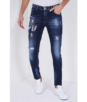True Rise Slim fit Jeans mit bunten patches -5201E-blau