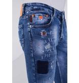 True Rise Jeans mit bunten patches - 5301A blau
