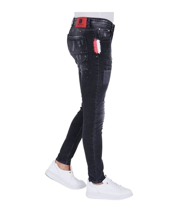 True Rise Herren jeans slim fit destroyed- 5501C - Schwarz
