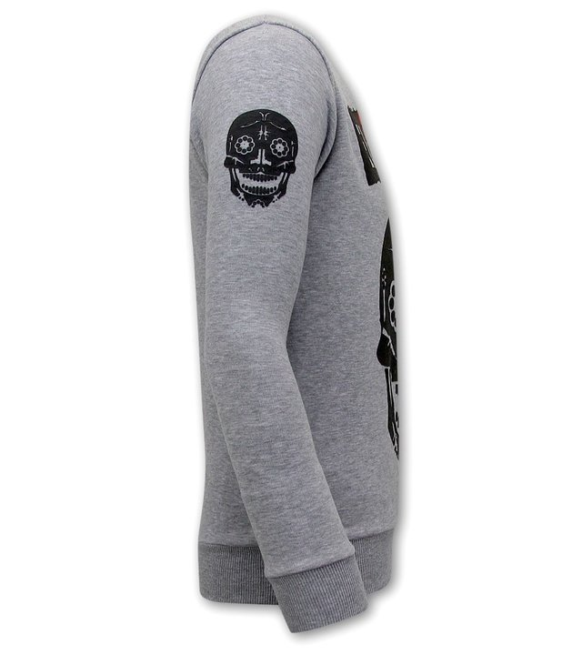 Local Fanatic El Narco Totenkopf pullover Herren  -  Grau