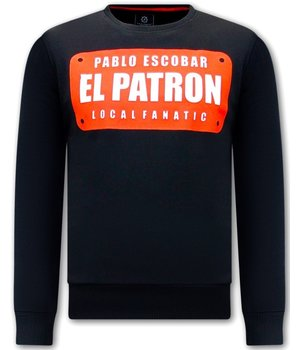 Local Fanatic Herren Sweatshirt  Pablo Escobar EL Patrom - Schwarz