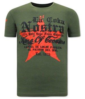Local Fanatic Herren T Shirts mit print King of Cocaines  - Grün