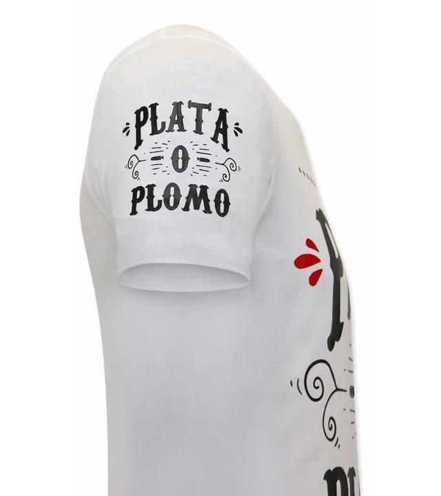 Local Fanatic Narcos Plata O Plomo  Herren  T Shirt  - Weiß