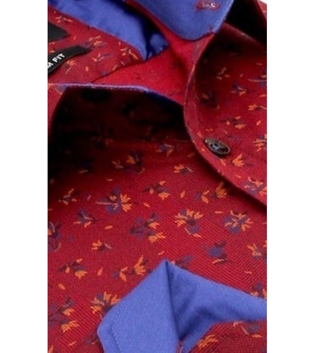 Gentile Bellini Blumenhemd Herren - Slim Fit - 3064 - Bordeaux