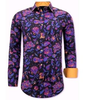 Gentile Bellini Luxus Bedruckte Hemden - 3074 - Marine / Orange