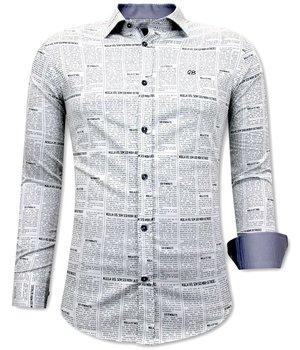 Gentile Bellini Luxus Zeitungsartikel Herrenhemd - 3077 - Weiß / Grau