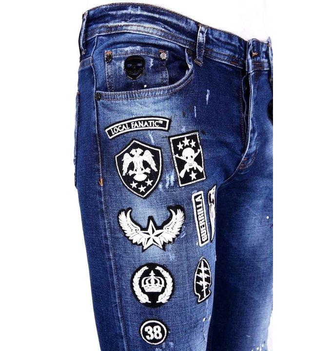 Local Fanatic Luxus Herren Jeans mit Patches - 1004 - Blau