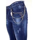 Local Fanatic Luxus Jeans Herren mit Farbspritzern und Nieten - 1025 - Blau