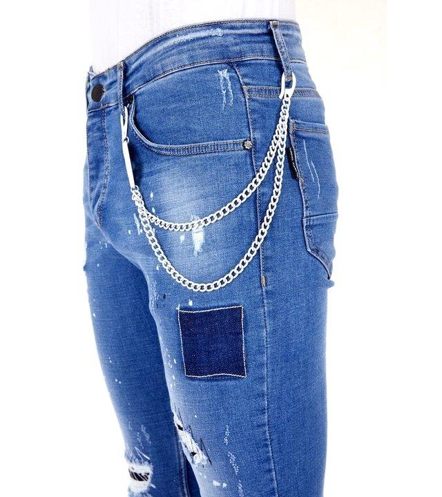 Local Fanatic Luxus Hosen mit Löchern für Männer - 1031- Blau