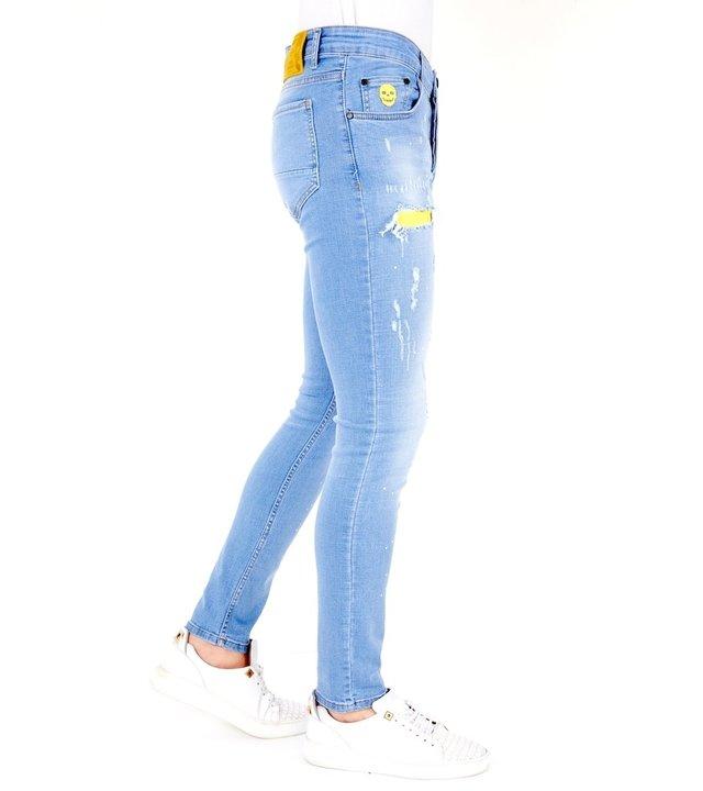 Local Fanatic Luxus Hellblaue Slim Fit Jeans für Männer - 1024 - Blau