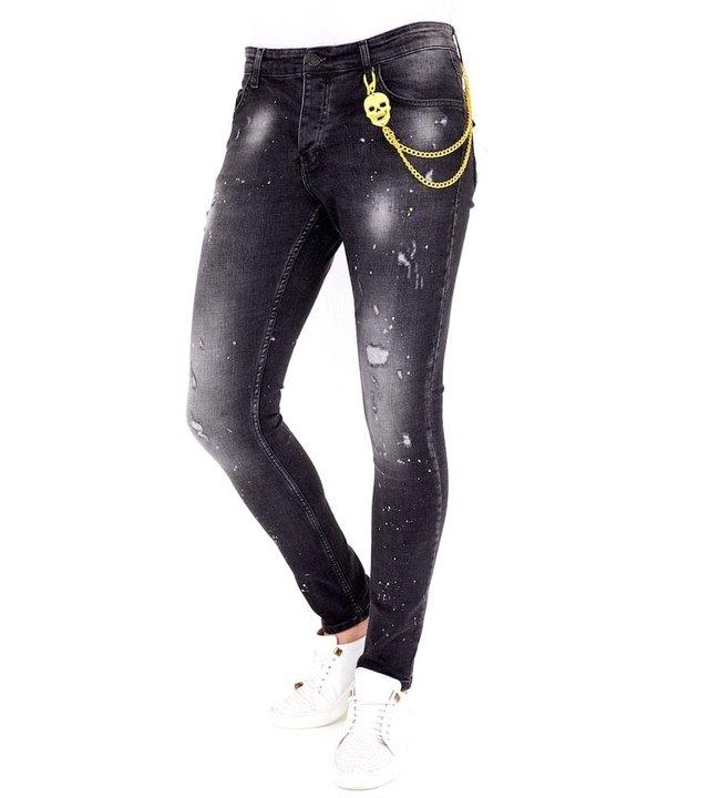 Local Fanatic Luxus Schwarze Slim Fit Jeans Männer - 1033- Schwarz