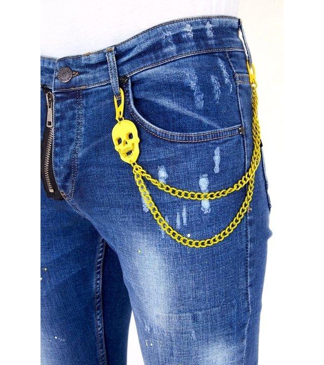 Local Fanatic Luxus Jeans mit Farbspritzer Herren - 1023 - Blau