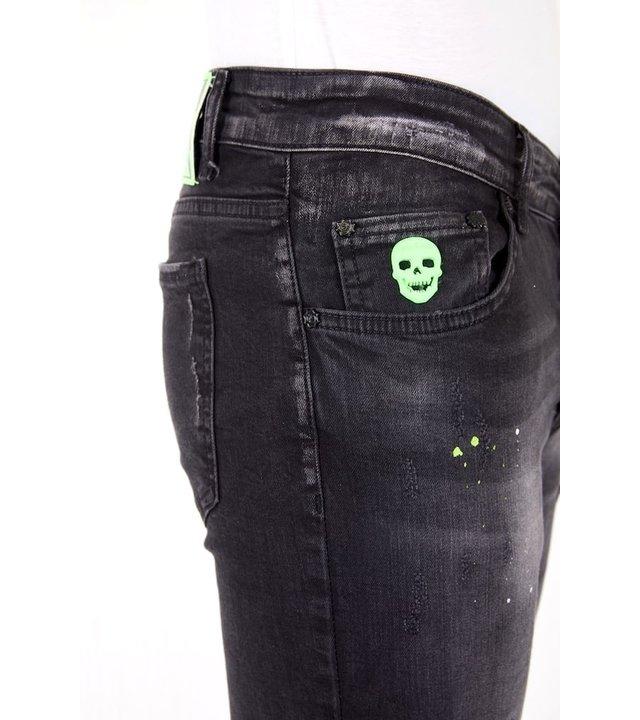 Local Fanatic Luxus Schwarze Slim Fit Jeans für Herren - 1029- Schwarz