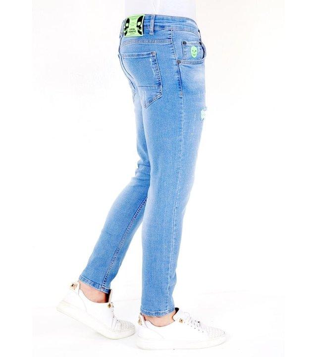 Local Fanatic Luxus Hellblaue Slim Fit Jeans Herren - 1027- Blau