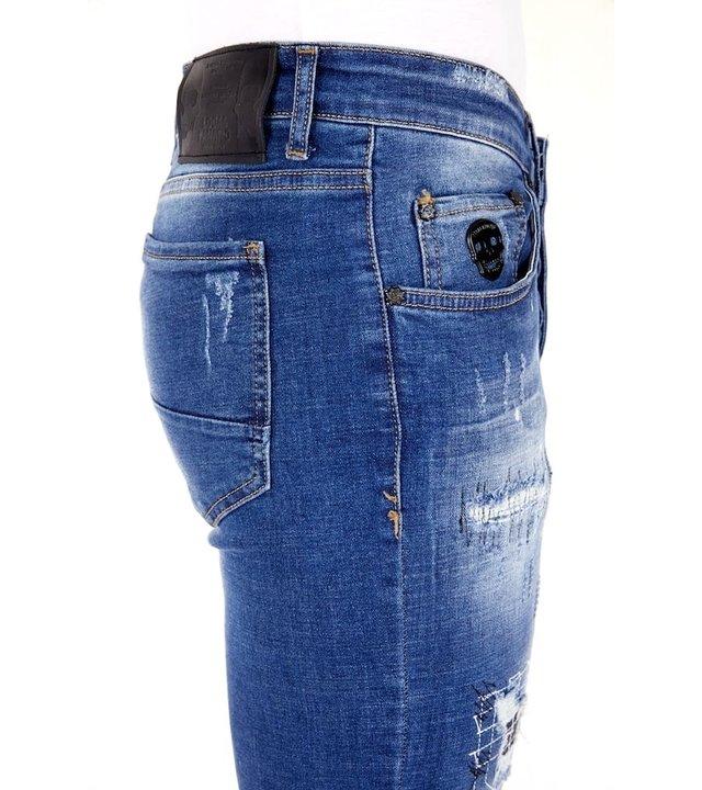 Local Fanatic Slim Fit Jeans mit Farbspritzer Herren - 1035 - Blau