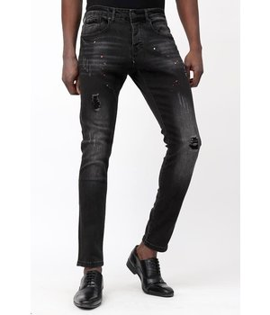 True Rise Slim Jeans Herren - D-3113 - Schwarz