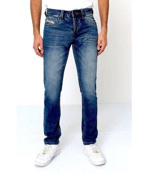 True Rise Herren Jeans Farbspritzer - A-11027 - Blau