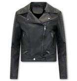 Bludeise Damen Biker Lederjacke Style - AY151 - Schwarz