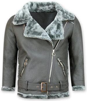 Z-design Lammy Coat - Shearling Winter Jacket Damen - Grau