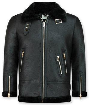 Z-design Shearling Jacket Damen - Lammy Coat - Schwarz