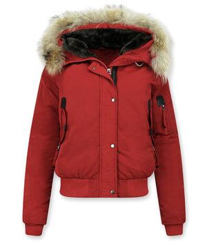 Macleria Winterjacke mit fell Damen - Kurze Jacke - Rot