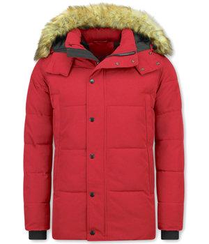 Enos Winterjacke Herren - Jacke mit Fellkragen - Rot