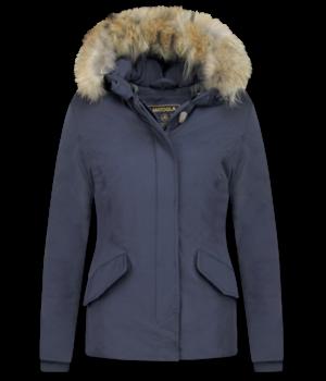 TheBrand Jacke mit Fellkragen - Kurze Winterjacke Damen - Blau