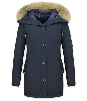 TheBrand Jacken mit Fellkragen - Winterjacken Damen Lange - Canada Style - Blau