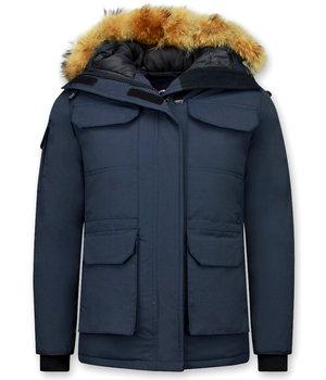 Matogla Jacken mit Fellkragen - Winterjacken Damen Lange - Blau