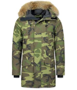 Y chromosome Jacken mit Fellkragen -  Exklusive Camouflage Parka