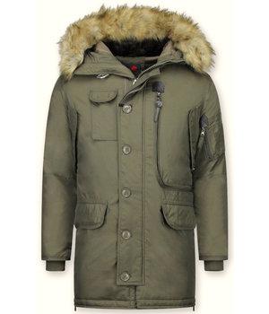 Just Key Jacken mit Fellkragen - Winterjacken Herren Lange - Parka - Grün