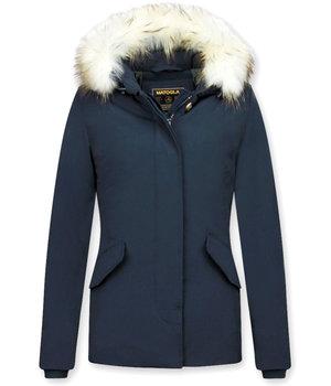 Matogla Jacken mit Fellkragen - Winterjacken Damen Wooly Kurz - Blau