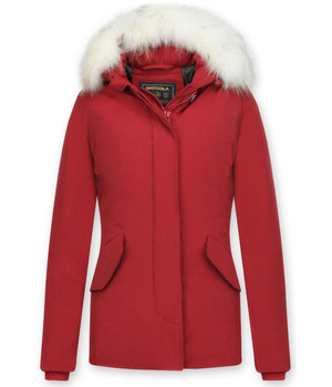 Matogla Jacken mit Fellkragen - Winterjacken Damen Wooly Kurz - Rot