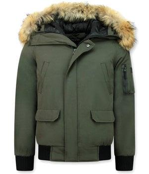 Enos Kurze Winterjacke Herren - Echtfell Jacke - Grün