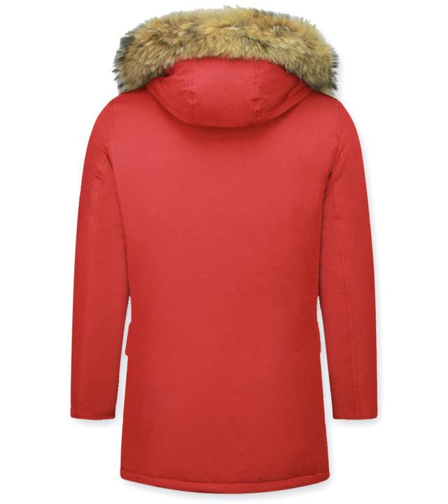 Enos Jacken mit Fellkragen - Winterjacken Herren Lange - Große Pelzkragen - Parka 4 Tasche Wooly - Rot