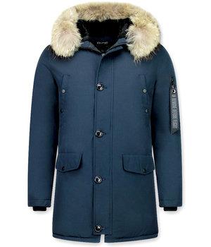 Enos Jacken mit Fellkragen - Winterjacken Herren Lange - Große Pelzkragen - Parka - Blau