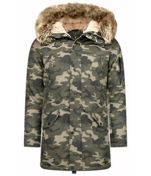 Enos Jacken mit Kunstfellkragen - Winterjacken Herren Lange - Kunstfellkragen - Camouflage - Grün