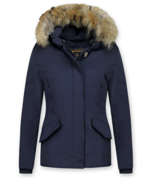 Beluomo Jacken mit Fellkragen - Winterjacken Damen Kurze - Große Pelzkragen - Wooly - Blau
