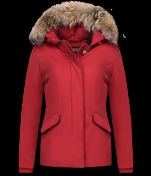 Beluomo Jacken mit Fellkragen - Winterjacken Damen Kurze - Große Pelzkragen - Wooly - Rot