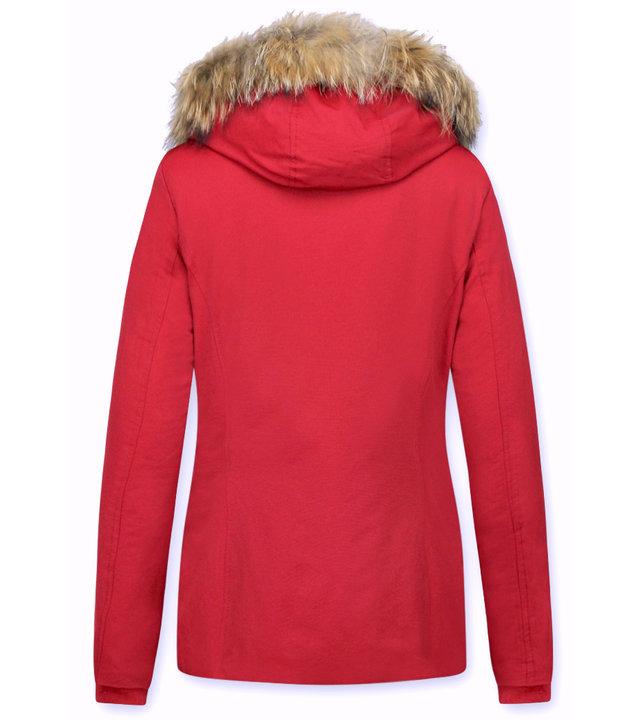 Beluomo Jacken mit Fellkragen - Winterjacken Damen Kurze - Kleine Pelzkragen - Wooly - Rot