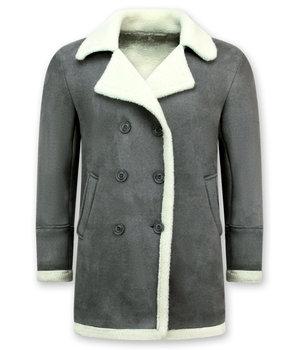 Frilivin Lammy Coat - Shearling Jacke Herren Lammfell - Grau
