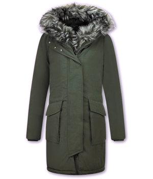 Macleria Winterjacke mit Kunstfell - Damen Parka - Grün