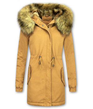 Z-design Winterjacke Damen - Winterjacke mit Fell - Kunstfell Jacke - Army - Camel