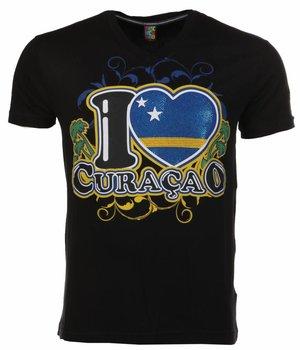 Mascherano T Shirt Herren - I Love Curacao - Schwarz
