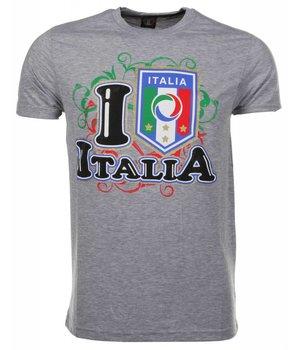 Mascherano T Shirt Herren - I Love Italia - Grau