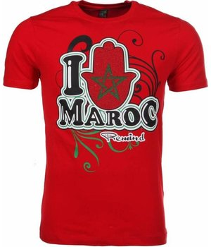 Mascherano T Shirt Herren - I Love Maroc - Rot