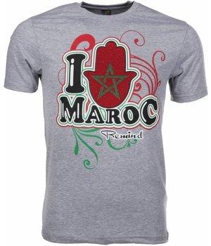 Mascherano T Shirt Herren - I Love Maroc - Grau