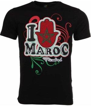 Mascherano T Shirt Herren - I Love Maroc - Schwarz