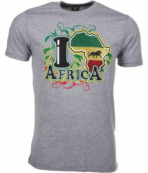 Mascherano T Shirt Herren - I Love Africa - Grau