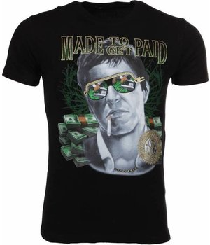 Mascherano T Shirt Herren - Made To Get Paid Scarface - Schwarz